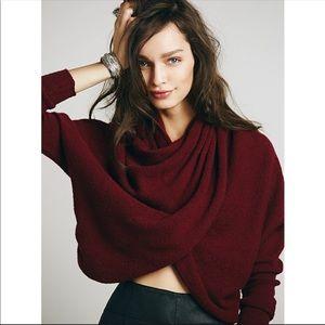 Free People Sugar Wrap Cranberry Sweater